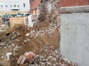 Demolition of the front stairway