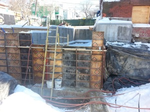 Forming foundation walls for the new additon