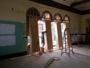 Shoring up the north wall windows - that will become interior arches in the new Shute.