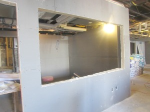 Inside, rooms are being defined - This is one side of an office.