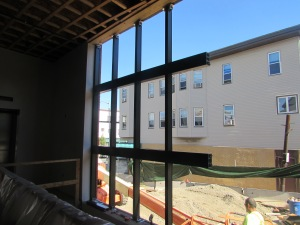 Window frames being installed