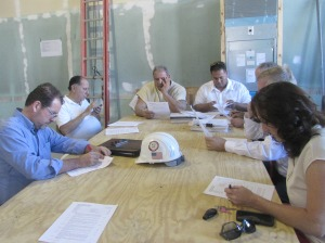 The Construction Committee hard at work during their weekly meeting.   This gets us all organized.