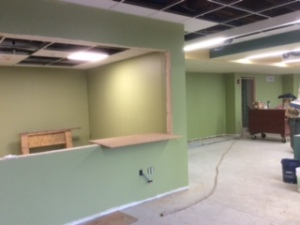 Inside, paint was applied. Here is a view of the Children's Room.