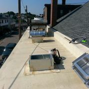 HVAC equipment is placed on the roof at the back of the building - hopefully only to be seen in these photos
