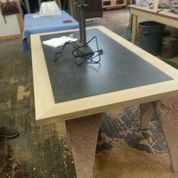 Off site - our vintage table is being refinished. Here is the top in process.