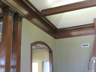 Wood trim outlines the contours of the historic part of the Library.