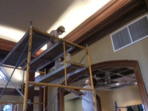 The painting and woodworking crew got started on the wood trim.
