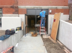 Entrance to the new Meeting Room is framed out.