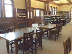 Study tables were refinished and look amazing...hard to believe they are the same, sturdy tables.