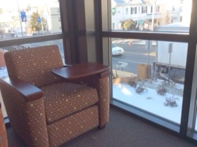Lounge chair and view over main entrance
