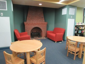 Fireplace reading area